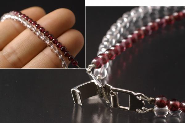 水晶×ガーネット 二連ブレスレット