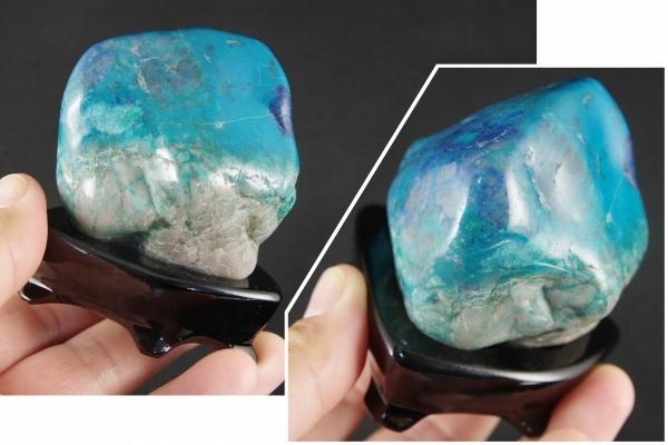クリソコラ原石(珪孔雀石)スライス磨き