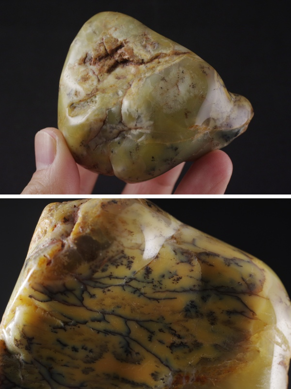 デンドリティックカルセドニー原石磨き