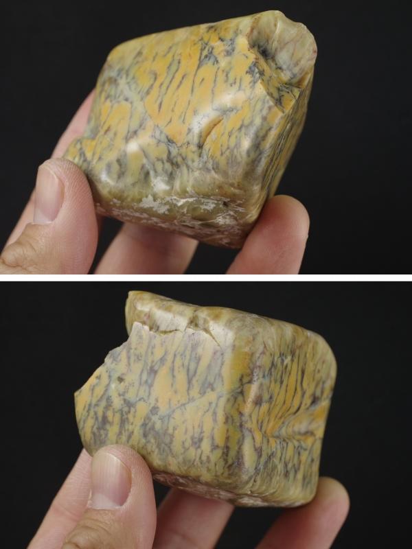 デンドリティックカルセドニー 原石 磨き